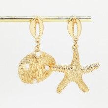 Hello Miss Fashion Ocean Wind Earrings Jewelry Shell Pearl Asymmetric Female Conch Starfish Stud