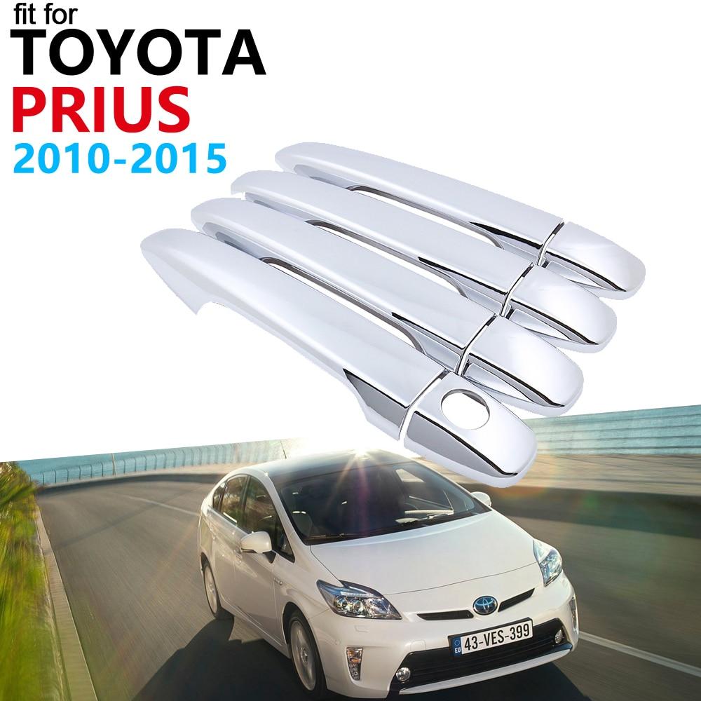 4 Door Handle Bowl Cover Chrome Trim For Toyota Prius XW30 ZVW30 2011 12 2016