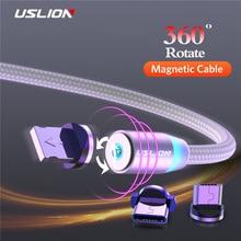 Магнитный светодиодный кабель USLION type C Micro usb для зарядки iPhone XS MAX, магнитное зарядное устройство USB C, кабель для samsung huawei Xiaomi