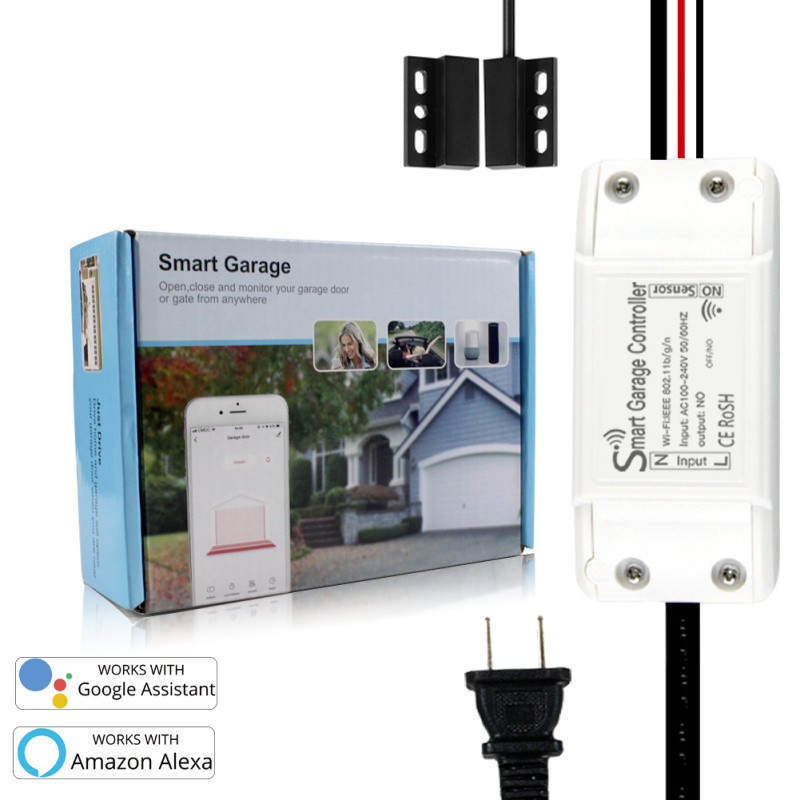 Smart Garage Door Opener Controller WiFi Switch Smart Home System with Alexa Google Home and IFTT Smart Life/Tuya APP Control