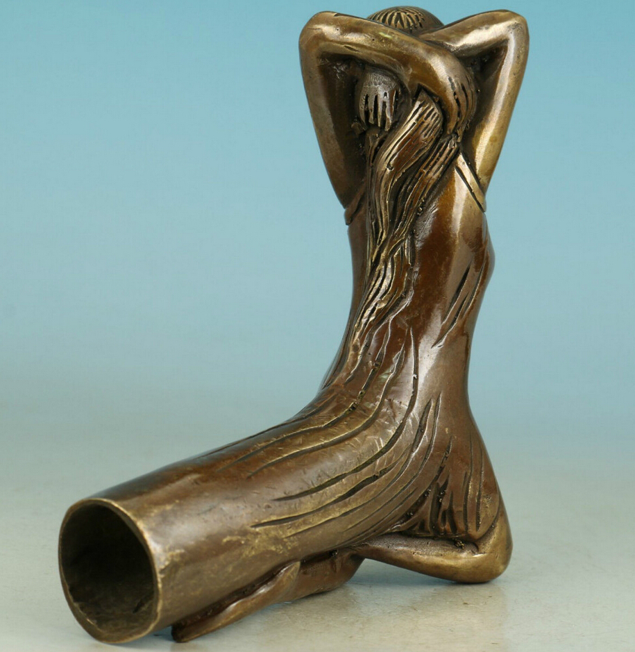 Chinese Bronze Handmade Carved Belle Statue Walking Stick Head