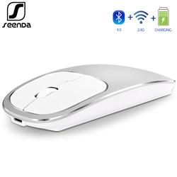 Seenda Bluetooth 4.0 Mouse Senza Fili 2.4G Usb Dual Mode Ricaricabile Del Mouse per Il Computer Portatile Tablet Smart Tv Silenzioso Fare Clic su Disegno metallo