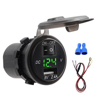 moto switch usb charger Waterproof 2.4A Digital Display Voltmeter 12V-24V car Boat motorcycle charger with 20A Fuse 60cm cable m image