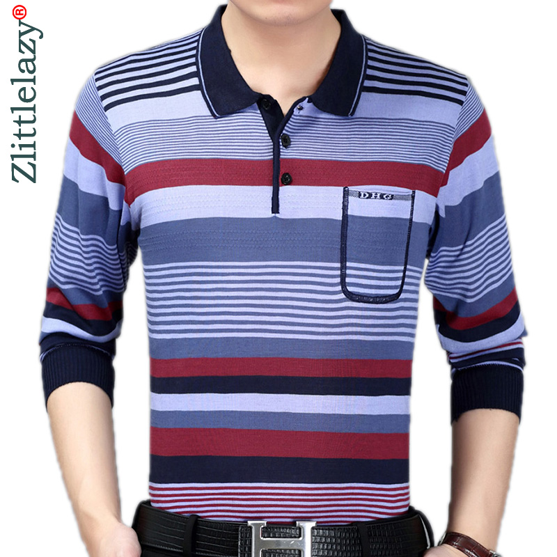 2019 brand casual striped fitness long sleeve   polo   shirt men poloshirt jersey pocket mens   polos   tee shirts dress fashions 90303