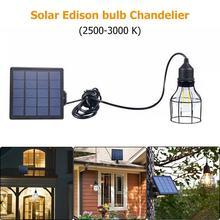 Lámpara Solar Vintage E27 Edison bombilla colgante para exteriores linterna pérgola para balcón lámpara de arco pantalla 80x66mm potencia 1w luz blanca