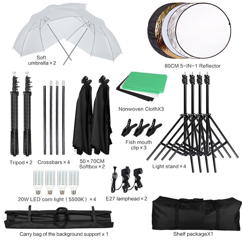 8.5* 10 ft Backdrop Support System, Photography Video Studio Lighting Kit Umbrella Softbox Set Video Shooting 2