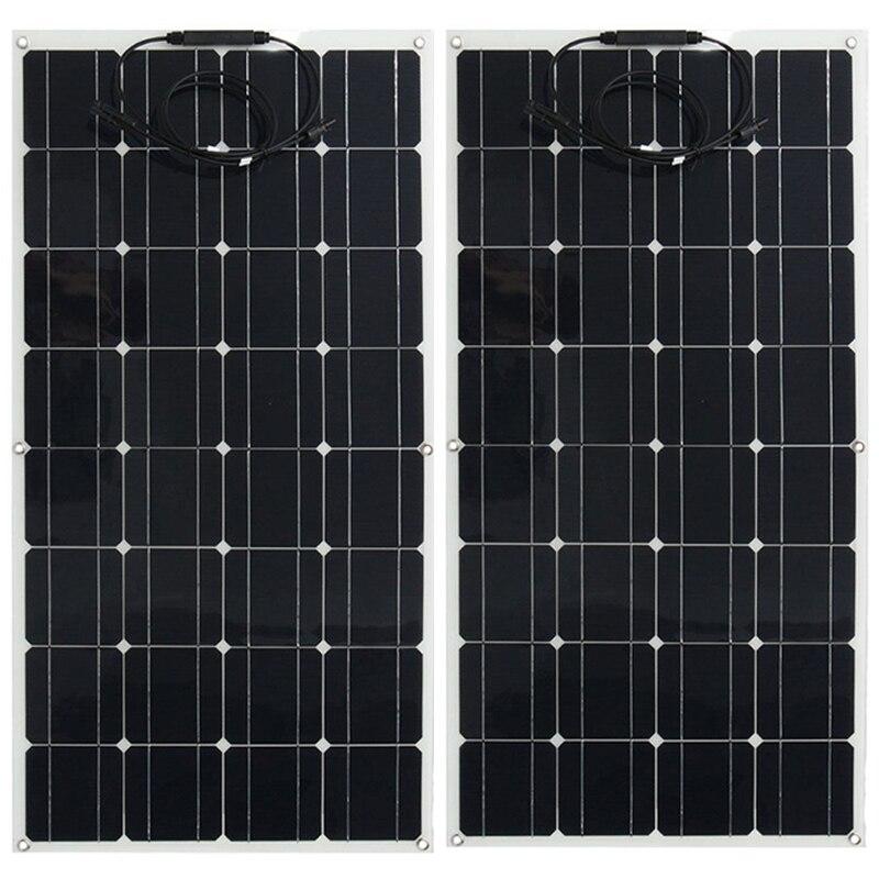 ETFE Flexible panneau solaire 100W 200w Semi système Kit noir classe-a solaire monocristallin cellule solaire 12V ou 24v dc panneaux 100watt