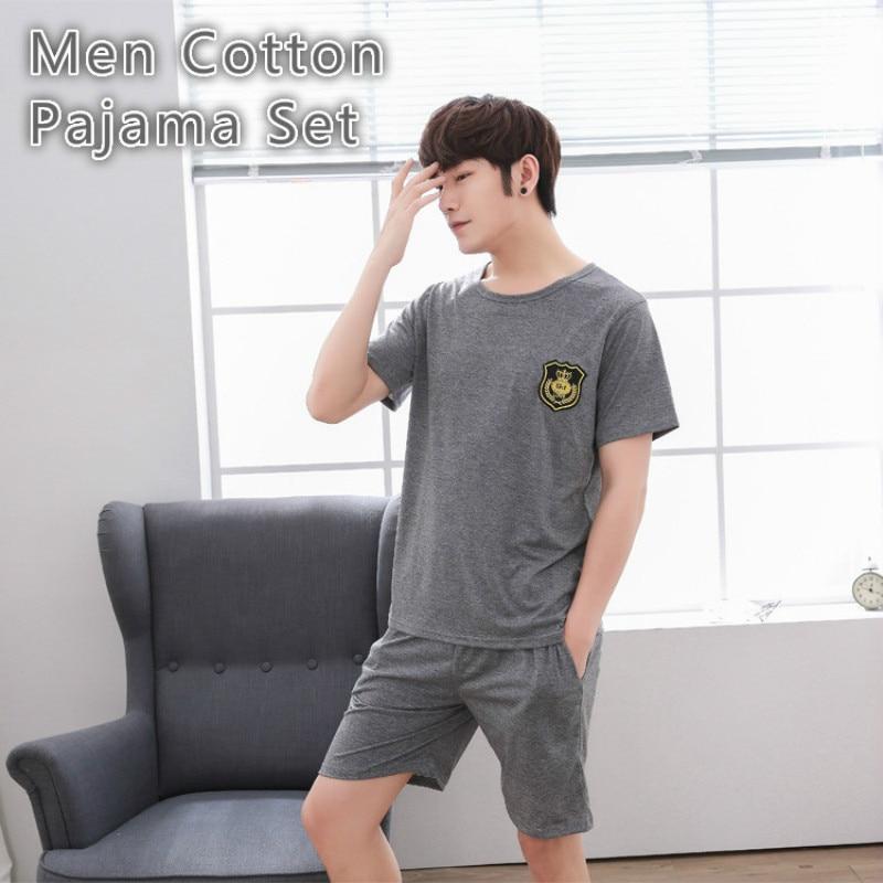 Men Cotton Pajamas Sets Pyjama Verano Homme Homewear Sleepwear Sexy Nightwear Men Summer Short Sleeve Pants Gray Big Size 3xl