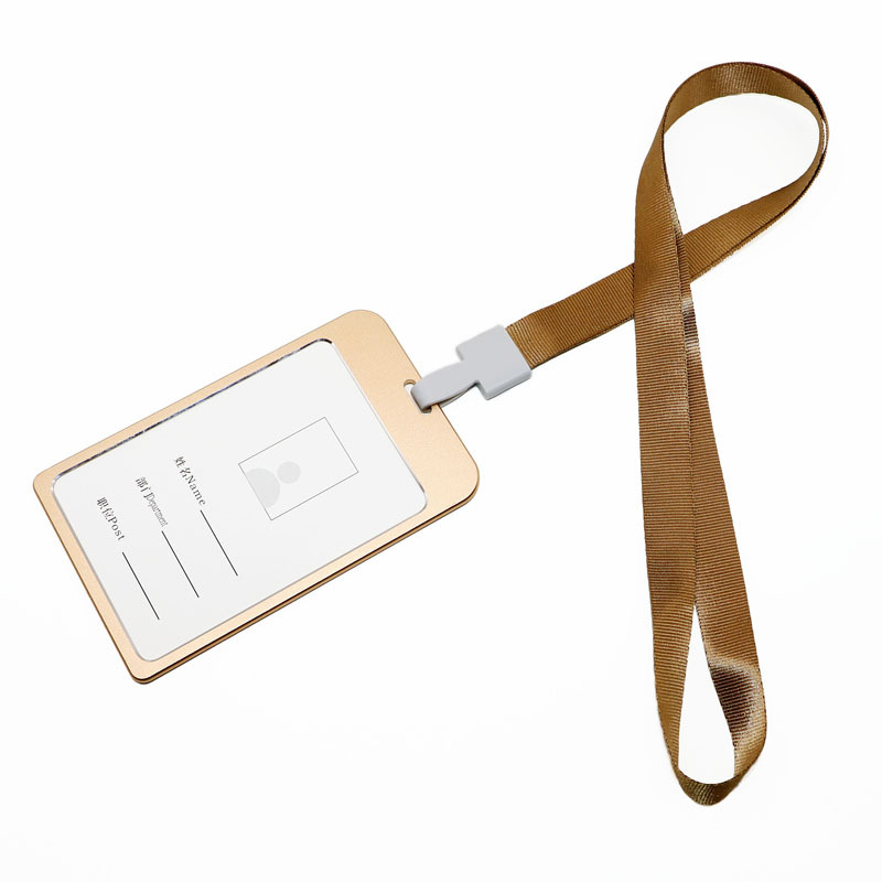 Large Size Aluminum Alloy Work Card Sleeve Certificate Holder Double-Sided Job Card Lanyard Top Grade Work Number Card Name Tag