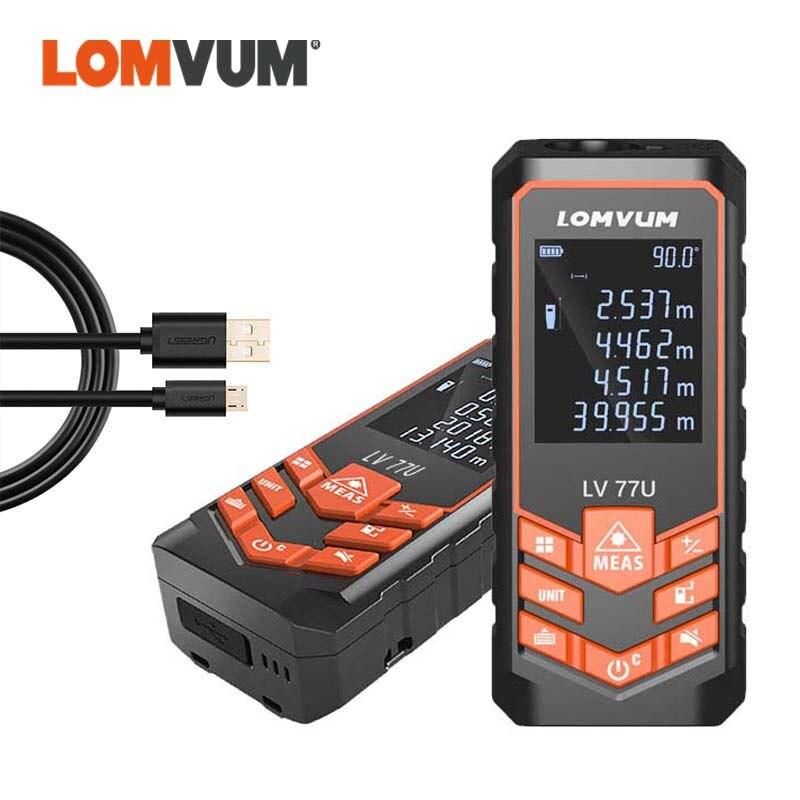 LOMVUM Rangefinder Digital Medidor Laser Trena Distance Meter LV 77U 40M 60M 80M 100M 120M USB Voice Laser Measurement Ruler