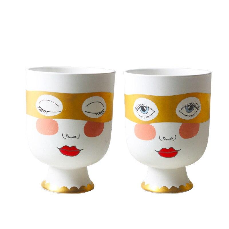 Design nordique plante Pot grand visage Vase or oeil masque humain visage Pot en céramique tête Vases pour Arrangement de fleurs décoratif maison