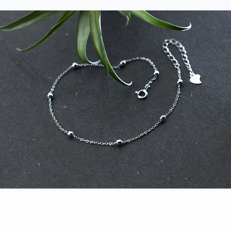 Trustdavis genuine 925 Sterling Silver Fashion Sweet Small Bell Anklets For Women Sivler 925 Jewelry Anklets Wholesale DS805 2