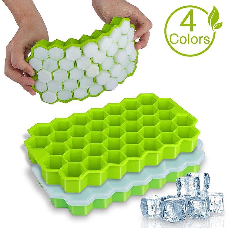 SILIKOLOVE 37 Hohlraum Honeycomb Ice Cube Form Wiederverwendbaren Silikon Eis Mold Ice Cube Tray für Sommer Whiskey Cocktail Mit Abdeckung