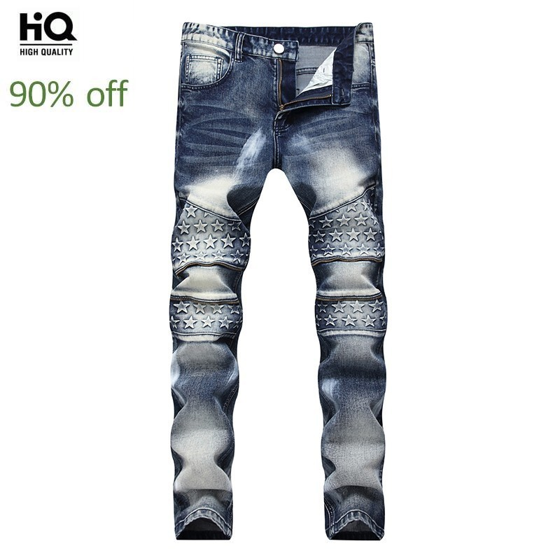 2020 Spring New Fashion Men's Biker Jeans Full Length Slim Fit Pants Man Streetwear Paint For Pant Calca Masculina Plus Size