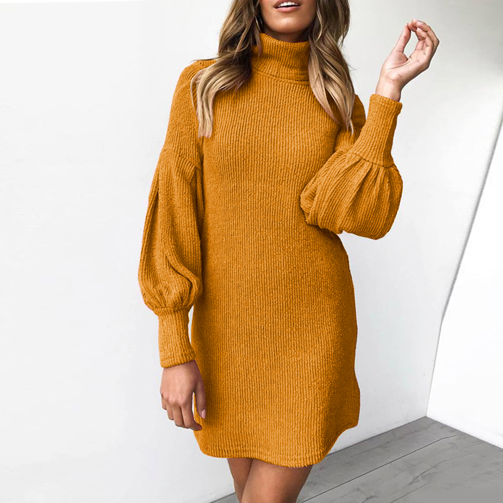 Women Autumn Winter Knitted Dress Puff Sleeved Turtle Neck Sweater Mini Dress Vintage Ladies Ginger Yellow Knitting Dresses D30