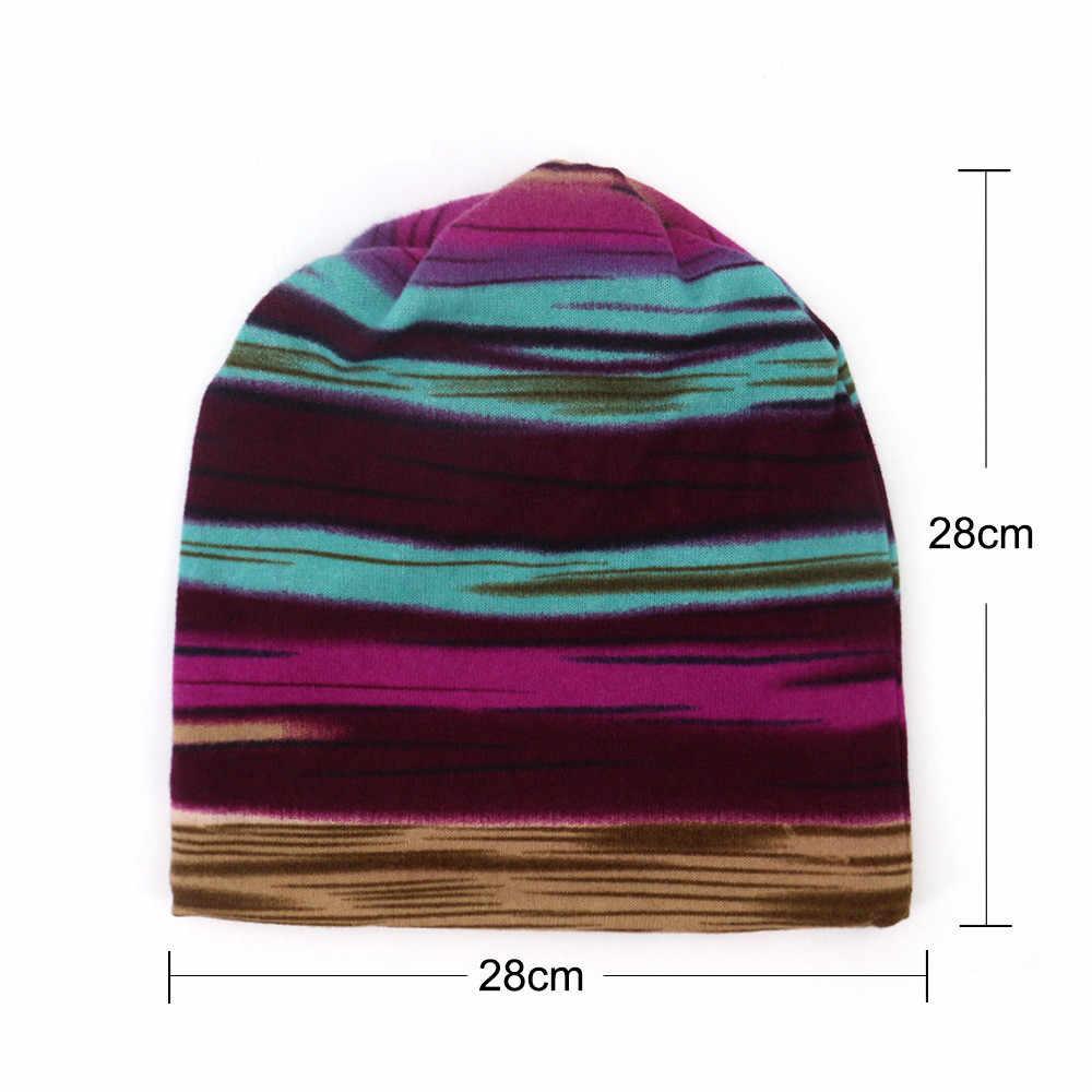 Шапка Женская Musim Dingin Topi Beanie Serban Topi untuk Wanita Pria Plus Beludru Hangat Garis Beanies Topi Pria Topi Rental Topi a40