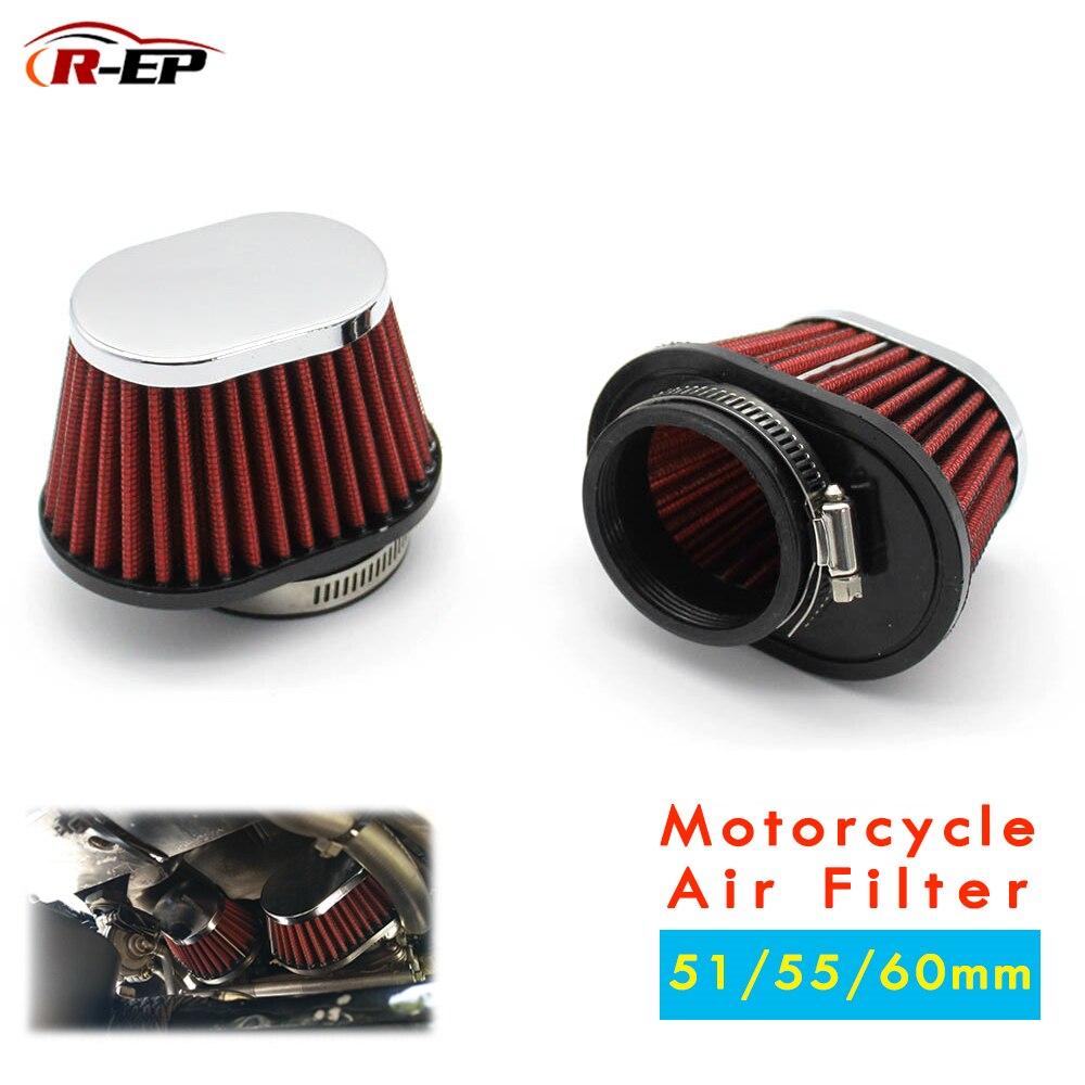 R-EP filtro de aire de motocicleta 60mm 55mm 51mm Universal para Motor coche Minibike entrada de aire frío Filtro de cono de alto flujo UN073