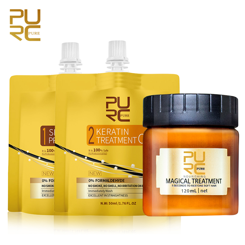 PURC Formaldehyde Free Hair Keratin Treatment Shampoo Set 5 Seconds Argan Oil Mask For Shiny Hair Straighten Keratin Cream