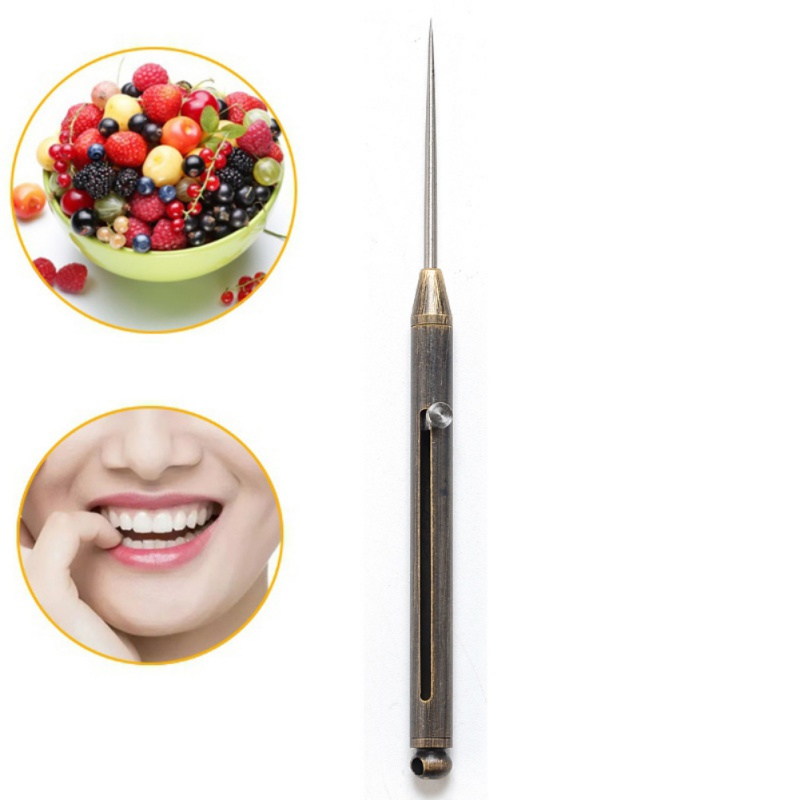Titanium Alloy Push-pull Spring Design Toothpick With Protective Case Ultra-Light Portable Multi-function Fruit Fork Picnic Tool