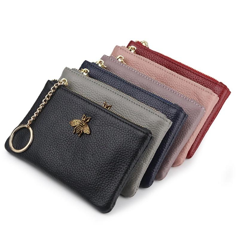 Brand Genuine Leather Coin Purse Women Mini Change Purses Kids Coin Pocket Wallets Key Chain Holder Zipper Pouch New