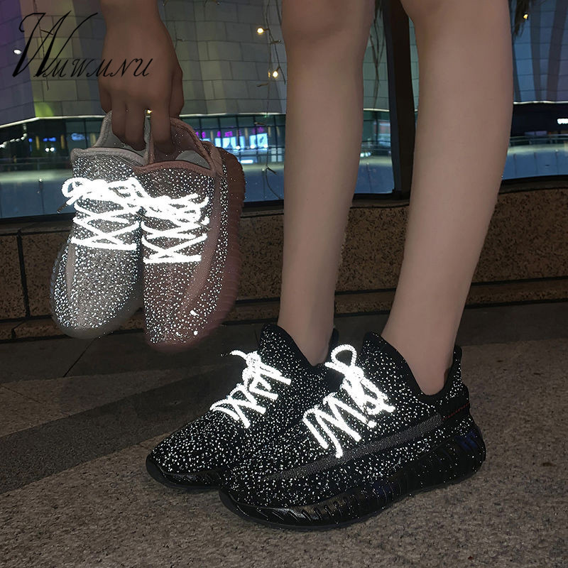 Reflective Knitting Mesh Sneakers Women Fashion Yellow Dad Shoes Basket Black White Casual Platform Running Sock Shoes 2020 New