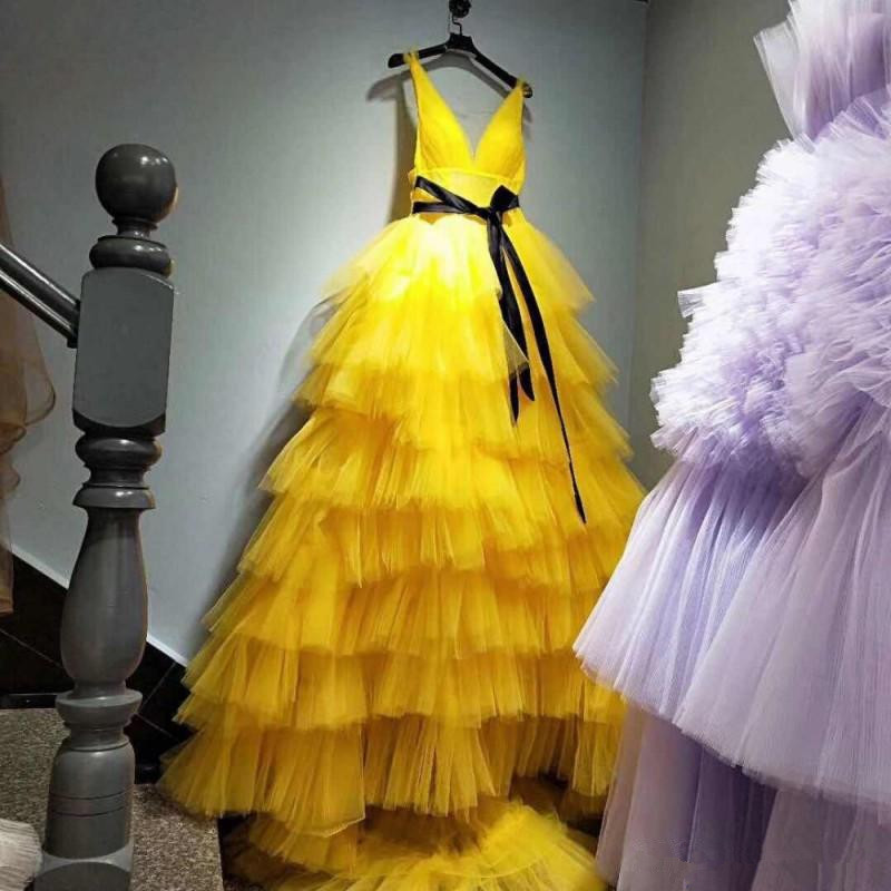 Yellow Deep V Neck Sexy Prom Dresses With Sash Tiered Cake Skirts Evening Dress Tulle Long Train Party Gowns Prom Dress 2020