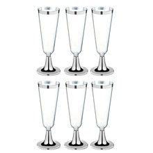 6Pcs Disposable Plastic Red Wine Glass Champagne Flutes Glasses Cocktail Party Wedding Drink Cup Christmas Western Cuisine Cup S(China)