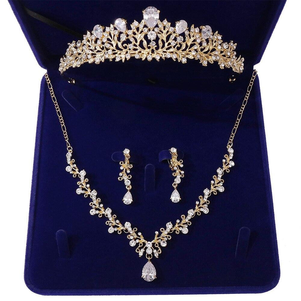 13803766296_469885438 - Luxe Noble Feuille De Cristal, Bijoux De Mariée Strass Couronne Diadèmes Collier Boucles D'oreilles, Perles Africaines,