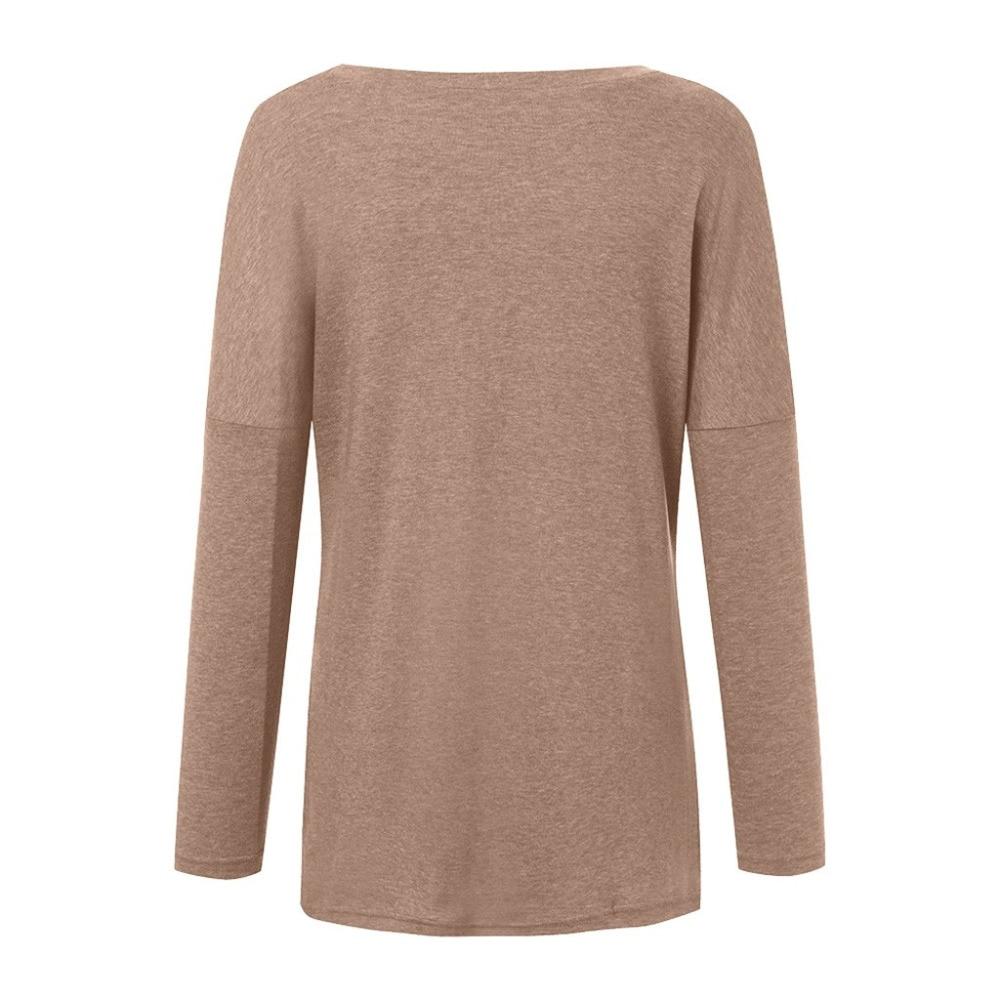 Womens Solid Warm Long Sleeve Sweatshirt Loose Pocket Daily Pullover Tops #4O08 (7)