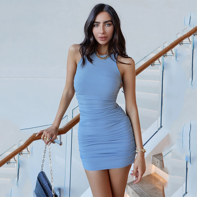 Women Solid Sleevess Dress Summer Casual Fashion Ruched One Piece Dress Stylish Stretchy Dress Sexy Bodycon Party Clothes 1