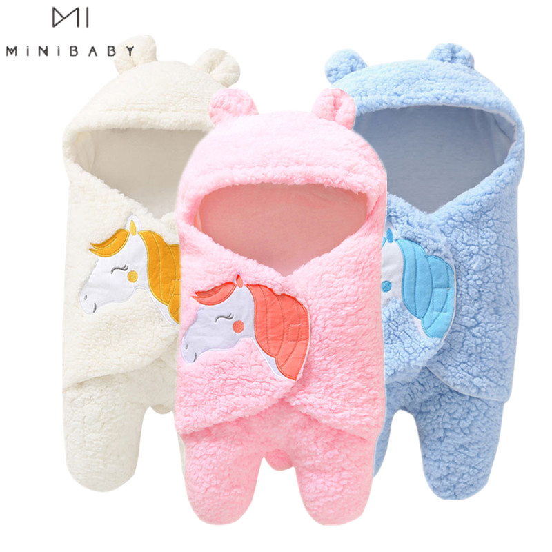 2020 Ins Style Cosy Newborn Baby Sleeping Bag  Plush Cartoon One Piece Warm Receive Blanket For Newborn Infant Sleepwear