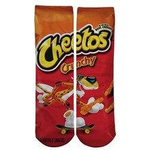 1 pair Funny Unisex Men Art Socks women printing Potato chips Knee High Socks cotton art Long socks For men