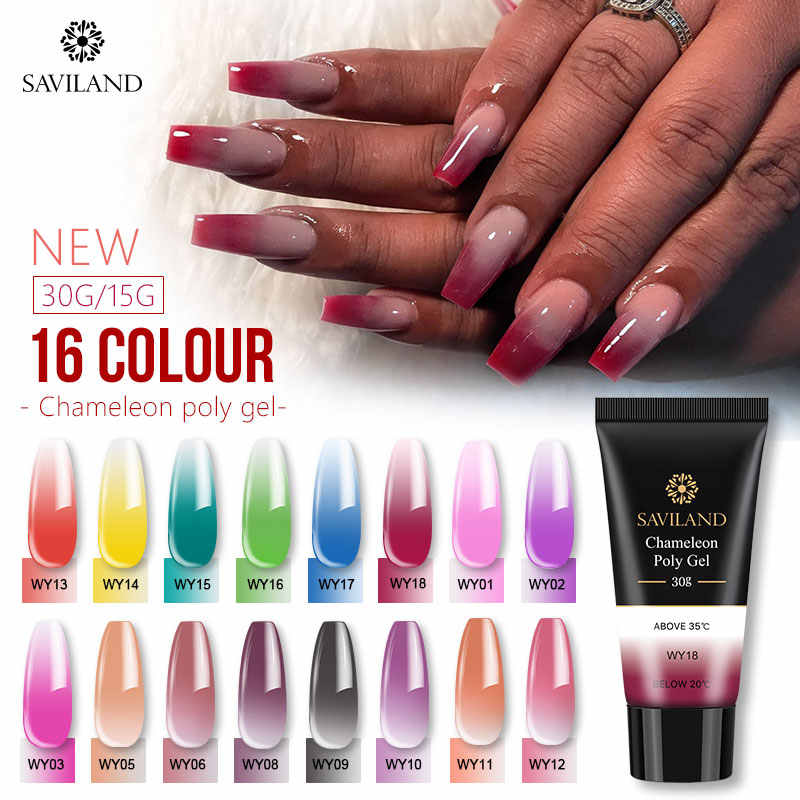 SAVILAND Poly Gel Kleur Veranderende Poly gel 30ml Thermische Uitbreiding Nails Art Camouflage Jelly Kristal Uv Builder Gel Nail polish