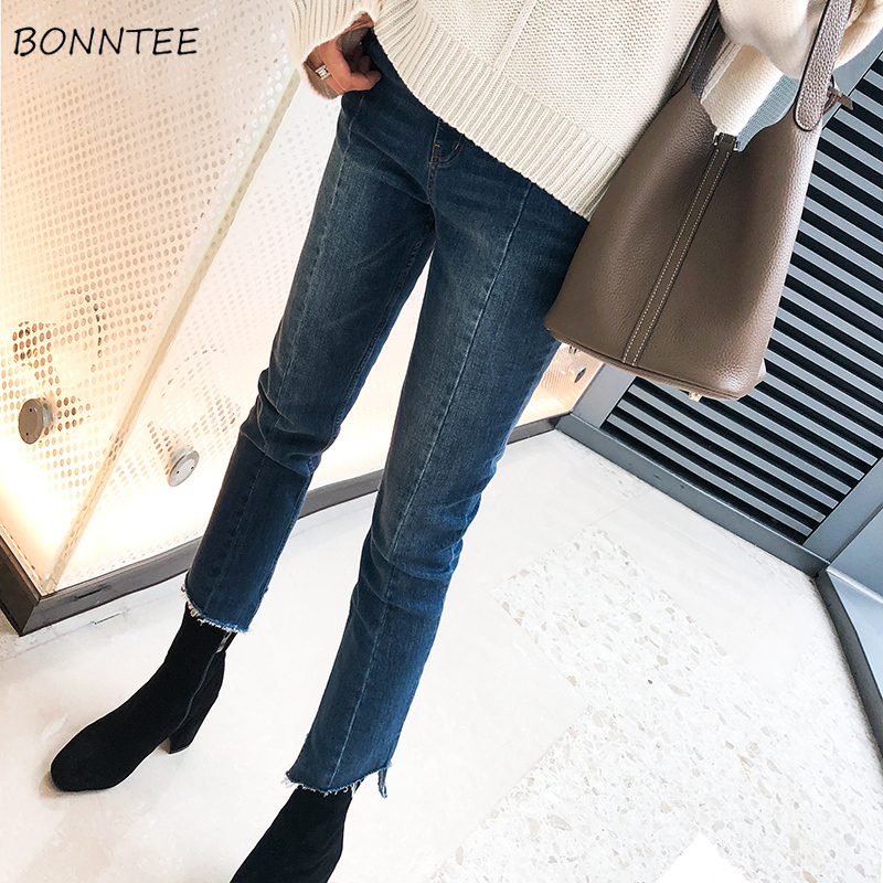 Skinny Jeans Women Plus Size 3XL Irregular Cropped Elegant High Waist Womens Trousers Ankle-length All-match Korean Style Simple