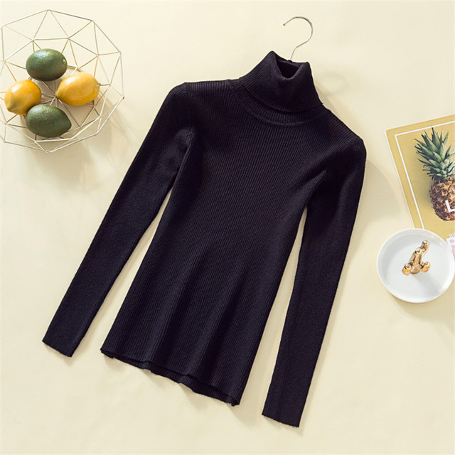 Knit Sweater Turtleneck Casual Pure Cashmere Pullover Autumn Winter Solid Long Sleeve Slim-jumper Soft Tops Pull