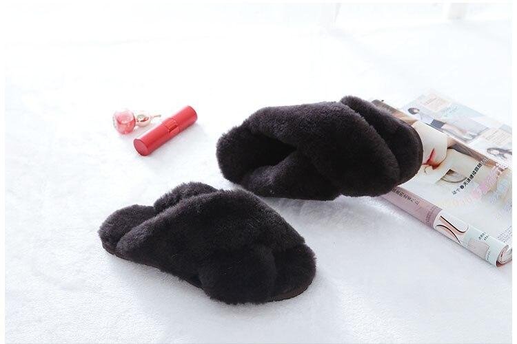 Grwg 100% natural chinelos de pele carneiro