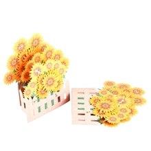 цена на Sunflower Greeting Cards Handmade Birthday Wedding Invitation 3D Pop Up Card Art