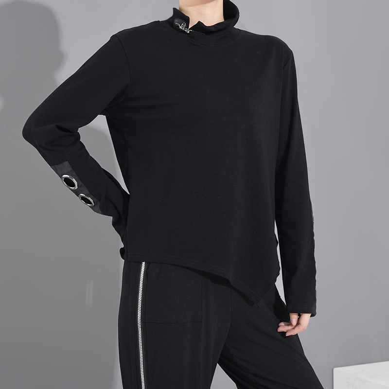 [EAM] Women Black Hollow Out Asymmetrical Split Joint T-shirt New Stand Collar Long Sleeve  Fashion Spring Autumn 2020 1M87401 5