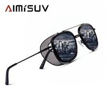 AIMISUV 2020 Retro Steampunk Sunglasses Men Designer Square Steam Punk Metal