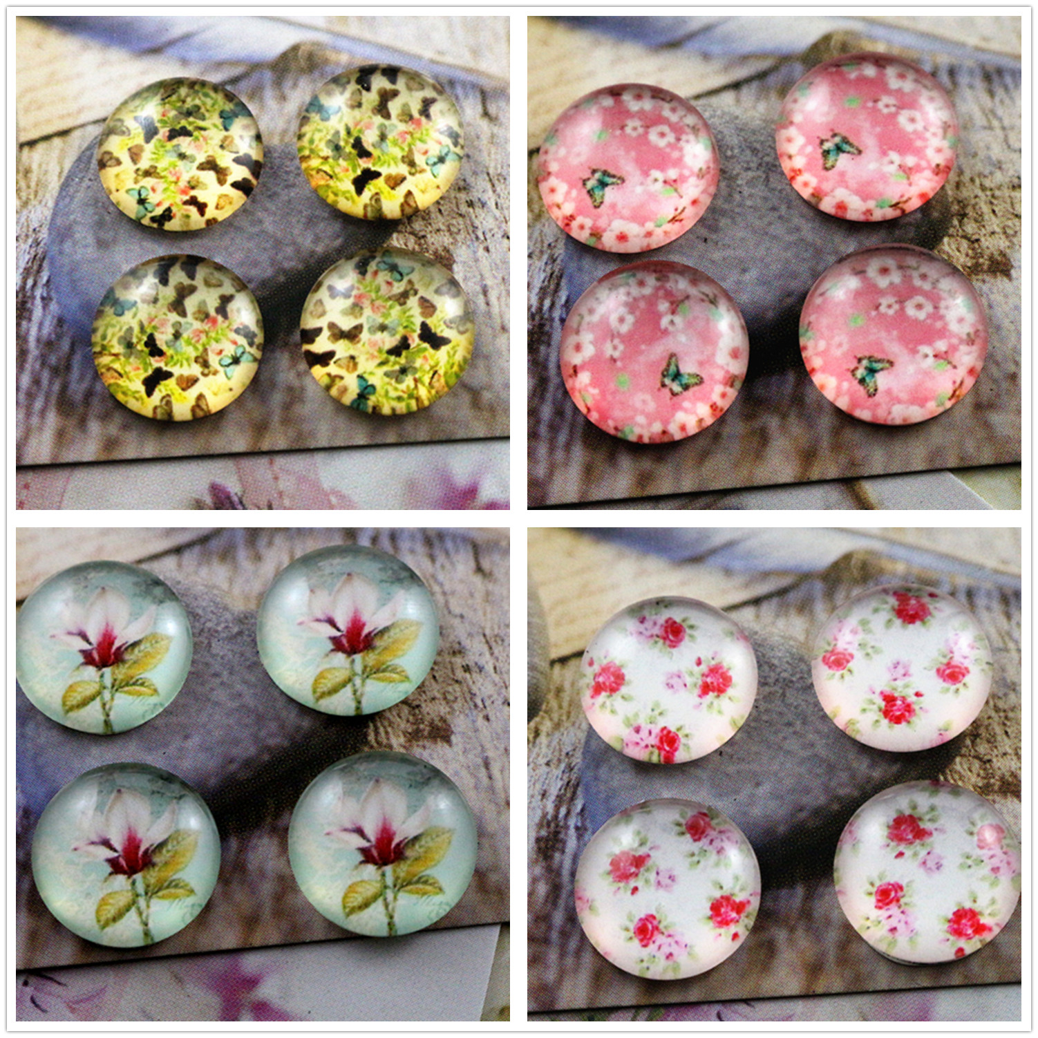 Hot Sale 20pcs 14mm  Flowers, Butterfly Series Handmade Photo Glass Cabochons
