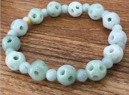 100% A Grade Jade naturel chanceux boule creuse perles lien Bracelet