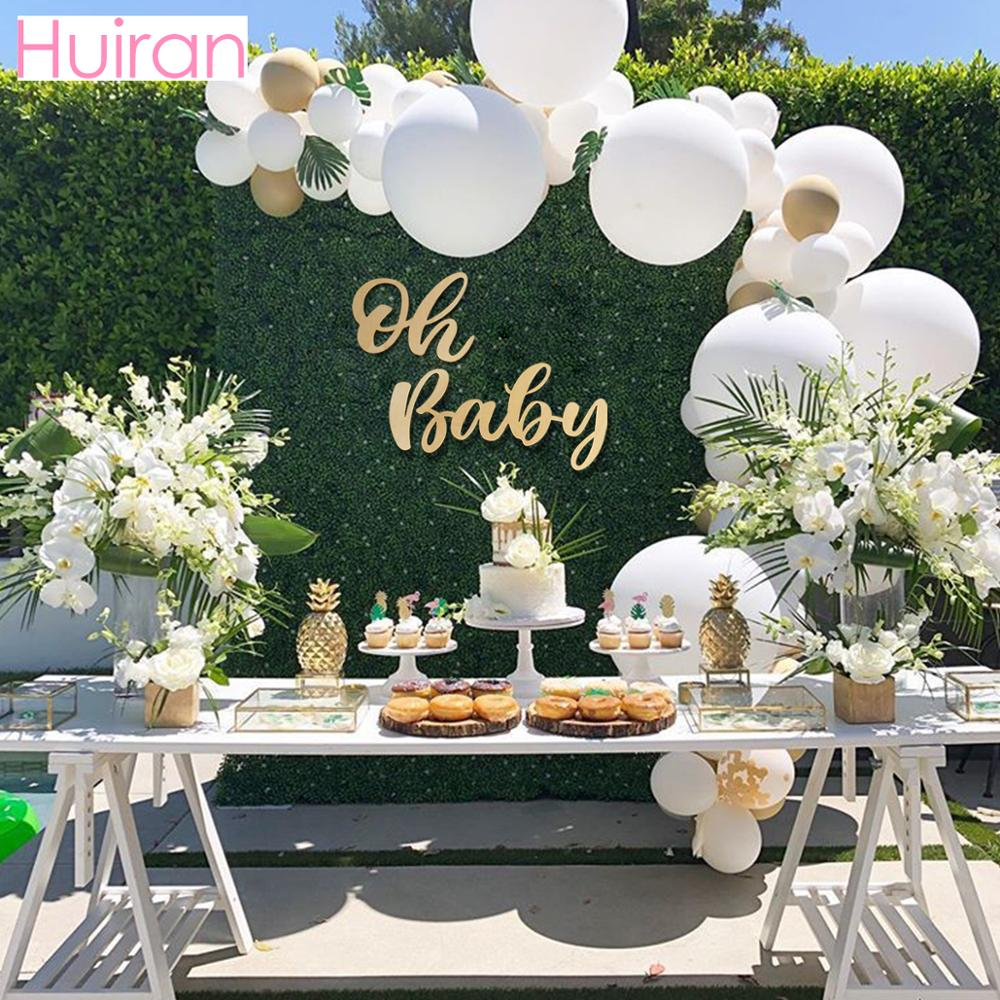 HUIRAN Oh Baby Wooden Letter String Boy Girl Baby Shower Decoraion Birthday Party Décor Gender Reveal Party Wall Sign Supplies
