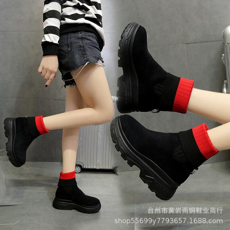 2019 sonbahar ve kış yeni stil rahat kısa çizmeler kadın tıknaz topuk süet mao xian tong ayak örtüsü botları bootie kadın bir title=