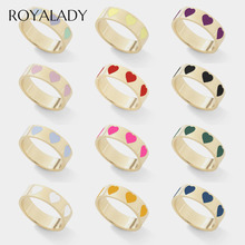 Cute Heart Love Enamel Finger Rings For Women 2020 Bohemian DIY Gold Color Statement Engagement Wedding Band Rings Party Jewelry china supplier his and hers gold color titanium wedding band finger rings women