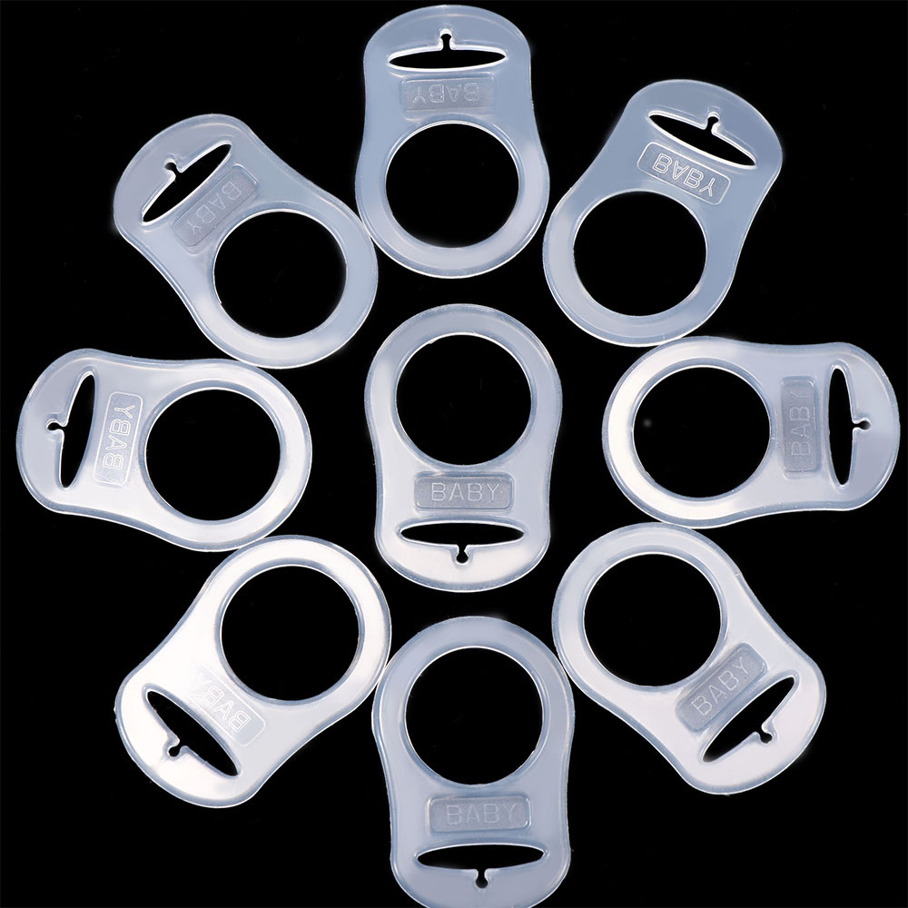 10 Pcs/set Baby Dummy Pacifier Holder Clip Clear Silicone Button Baby Mam Rings Dummy Pacifier Holder Clip Adapter