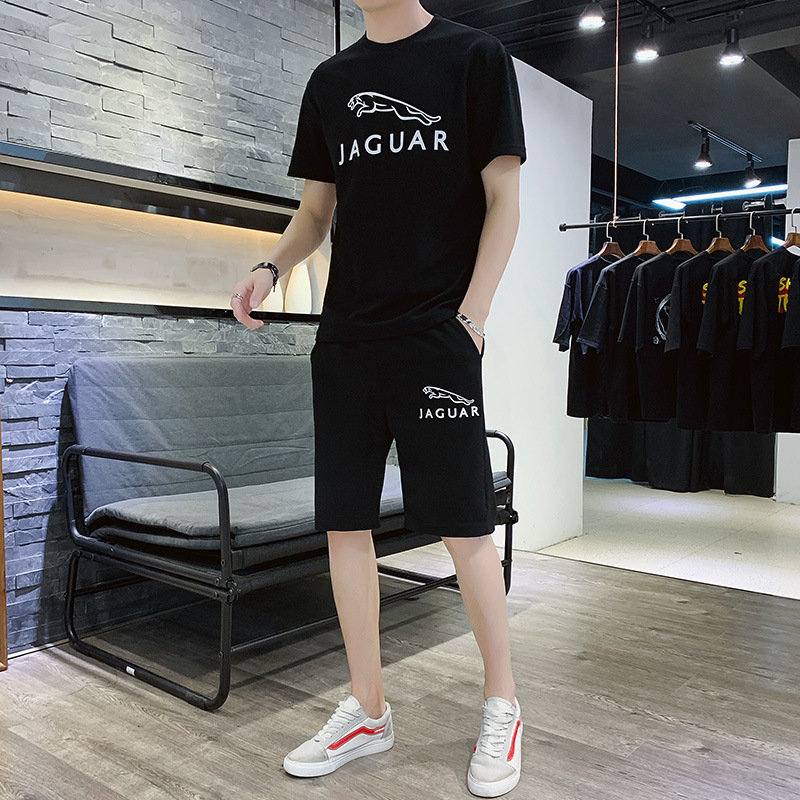 Summer Quick-drying T-shirt Shorts Set Men Casual Half Sleeve Two-Piece Set Youth Men's Shorts Large Size Breathable Fashion Sle