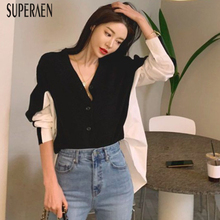 คอเดี่ยวหน้าอกถักเสื้อ SuperAen 2019 สไตล์เกาหลีเสื้อกันหนาวผู้หญิงเสื้อ