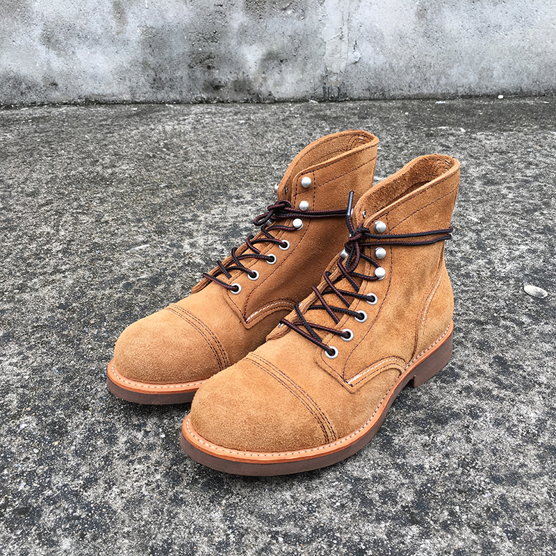 Autumn Winter New Designer Vintage Genuine Leather Wings Men Shoes Goodyear Welted Red Men Ankle Boots Work Motorcycle Boots