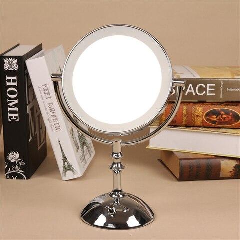 Prata 8 Polegada desktop espelho de maquiagem 2 face espelho de metal 3x 5x 10x