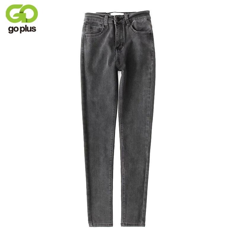 GOPLUS 2019 New Stretch High Waist Jeans Elastic Women Spring Autumn Slim Washed Denim Skinny Pencil Pants Femme C4858